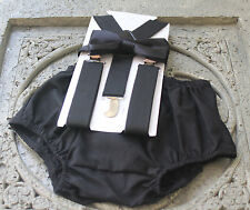 1st Birthday boy cake smash diaper cover bow tie Black Suspenders US clothes