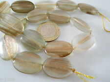 8 ovali piatti in vetro soffiato beige con inclusioni dorate di 25x18 mm