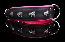 QUALITY GENUINE LEATHER ENGLISH BULLDOG DOG COLLAR HAND STITCHED MADE IN EUROPE