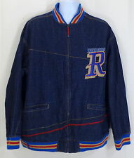 Denim Varsity Jacket - ROCAWEAR - Dark Blue Jean Size Large L - Urban Wear