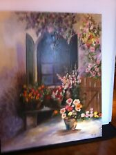OIL PAINTING FLORAL BENCH WINDOW SHUTTERS Signed ORIGINAL Reseller IMPRESSIONIST