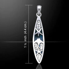 Starfish and Ray Surfboard .925 Sterling Silver Pendant by Peter Stone