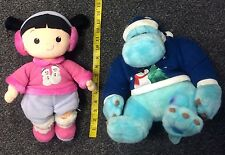 Disney Store Christmas Sulley and Boo Plush Toy With Tush Tag Used