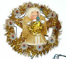 Vintage Tinsel Angel Wreath Christmas Decoration 10 Flashing Lights See Video