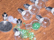 1 ROUND Locket Glass Pendant/Vials rice bottle charm fairy dust fill necklace