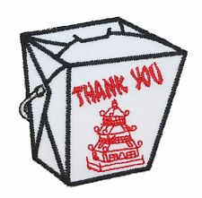 Chinese Food Take-Out Patch Fried Rice Box Oriental Restaurant Iron-On Applique