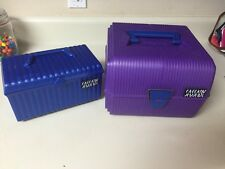 Sassaby Large Purple Case Train Makeup Jewelry Crafts Organizer & Blue Smaller