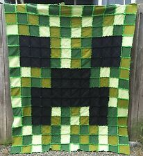 Minecraft Twin Size Creeper Rag Quilt ~ Blanket for boy or girl bed