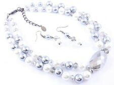 TWO STRAND GREY AND WHITE FAUX PEARL GLASS FACETED BEAD NECKLACE EARRING