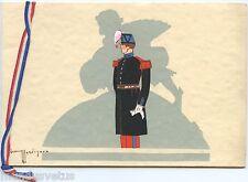 Magnifique Carte de Voeux peinte à la main . Ecole Militaire de Saint-Cyr .