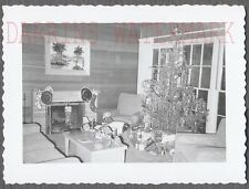 Vintage Snapshot Photo Christmas Tree & Pedal Car Toy Home Interior 728203