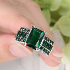 Lady/Women's Silver 14KT White Gold Filled Emerald Wedding Ring Gift size 7