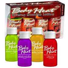 Body Heat Warming Flavored Edible Massage Lube Oil Lotion Lubricant Sampler 4pk