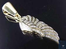 "10K Yellow Gold Genuine Diamond Mini Wing Of An Angel Pendant (0.40Ct) 1.25"""