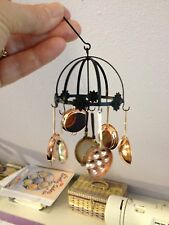 Dollhouse Miniature Round Hanging Pot Rack w/Copper Pots - Artisan -  1:12 Sc