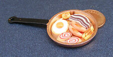 1:12 Fry Up In A Large Copper Frying Pan Dolls House Miniature Kitchen Accessory