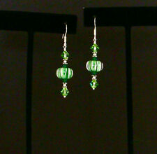 STERLING SILVER Earrings w/ GREEN & WHITE LAMPWORK BEADS & SWAROVSKI CRYSTALS
