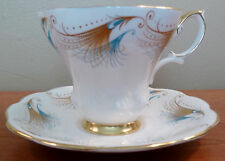 Vintage mid-century Royal Albert cup and saucer with turquoise and gold designs