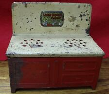 VINTAGE LITTLE ORPHAN ANNIE 2-BURNER TOY RED COOK STOVE/OVEN / PRESSED STEEL