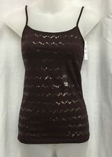 NWT ANN TAYLOR LOFT XXS Marsala Wine Sequence Striped Spaghetti Strap Tank Top