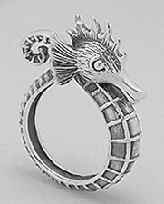 11mm Wide Solid Sterling Silver Happy Seahorse Ring sz 7  OXYDIZED Detail 10.20g