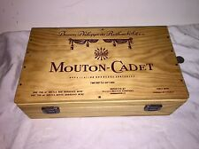 """Vintage Wooden Advertising Box """"Mouton-Cadet"""" Wooden Wine Box Hinged & Clasped"""