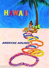 Hawaii Hawaiian Island Hula Girl Vintage U.S. Travel Advertisement Art Poster
