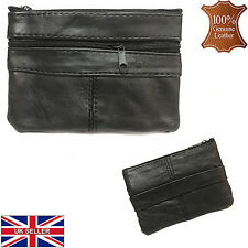 Real Leather Genuine Pouch Two Zips/Key Case/Coins Wallet/Purse/Bag