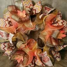 FALL AUTUMN HARVEST DECO MESH WREATH RIBBON MESH