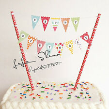 Rainbow Happy Birthday Cup Cake Banner Bunting Flags For Dessert Table Decor DIY