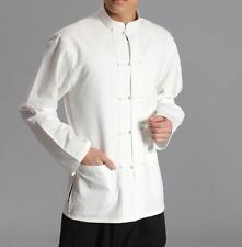 white pure cotton men shirts wing chun tang suit kung fu tai chi uniform