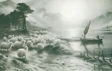 Old Vintage Antique Farquharson art Print Sheep Farm Shepherd FERRY ON LOCH