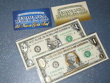 SET OF TWO GENUINE DOLLAR BILL IN 22 K  GOLD  & SILVER ....
