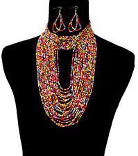 "16"" multi seed bead collar choker bib Necklace 3"" earrings Jewelry body chain"