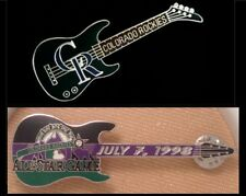 Lot/Set of 2 Colorado Rockies Guitar Pins~one with case -LE~ MLB ~ Baseball