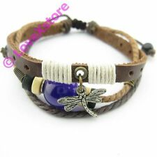 Brown Real Leather DragonFly Pearl Hemp Bracelet Bracelets Wristband Wrist Wrap