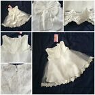 Baby Girls White Ivory Christening Gown Bridesmaid Party Dress Bow Tutu Lace Zip