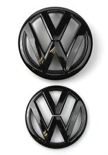 VW VOLKSWAGAN GOLF GTI R 7 MK7 GLOSS BLACK FRONT GRILL & REAR BOOT BADGE EMBLEM