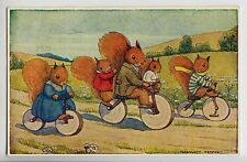 "POSTCARD - artist Margaret Tempest ""Bicycle Ride"" squirrels parents & children"
