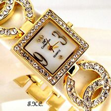 Ladies Gold Plated Designer Dress Double Kiss Watch, w/  Swarovski Crystal Bling