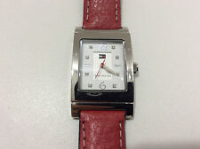 Tommy Hilfiger F80258 Women's Watch Analog Dial Red Band 30M WR Stainless Steel