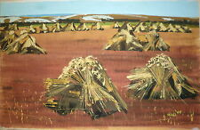 Michel King gouache sur papier signée 1961 peintre de la marine la moisson