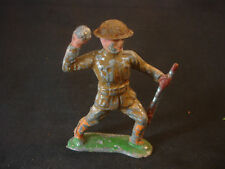 Old Vtg Lead Toy Soldier Helmet Grenade Rifle Gun Standing Figurine Figure