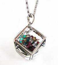 Silver Floating Rainbow Crystal Cube Square Glass Locket Pendant Necklace