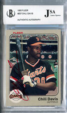1983 Fleer CHILI DAVIS Signed Card Slabbed Auto San Francisco Giants BGS/JSA