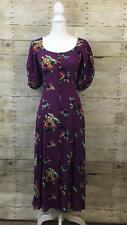 Vintage Betsey Johnson Long Purple Floral Rockabilly Dress Size S Rayon 2242