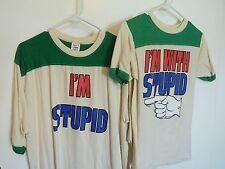 I'm With Stupid Couples Tshirts Shirt His Hers Vtg Roach 1975 Funny Gag Costume