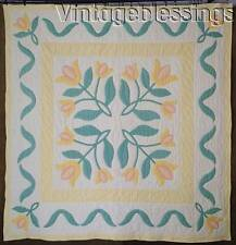 "So Pretty! Vintage 30s Yellow Tulips Applique QUILT 76"" x 74"""