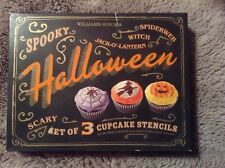 WILLIAMS SONOMA SPOOKY HALLOWEEN CUPCAKE STENCILS SET OF THREE NEW
