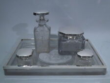 Hawkes Dresser Set - Antique Vanity - American Sterling Silver & Cut Glass
